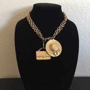 Vintage Chanel Hat & Purse adjustable necklace